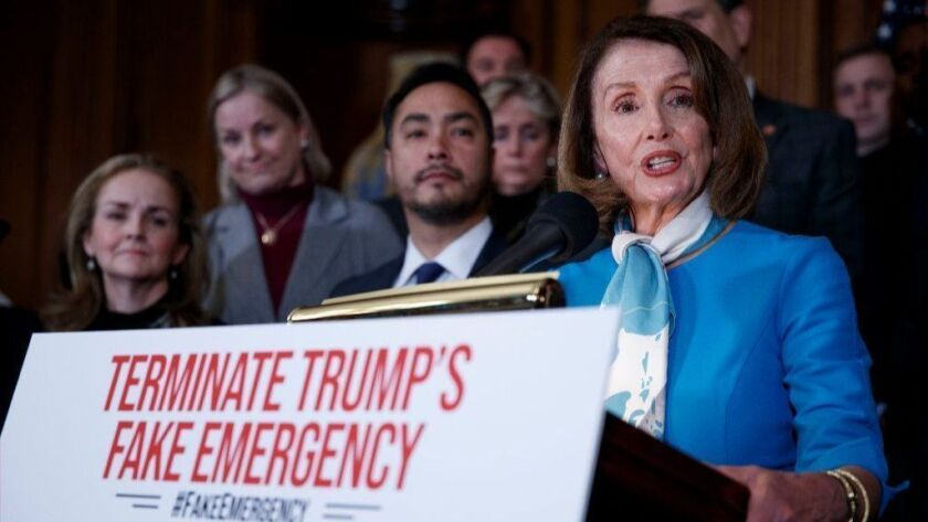 Speaker of the House Nancy Pelosi holds a press conference to announce a resolution to terminate President Trump's declaration of a National Emergency on the Southern border, Washington, USA - 25 Fe