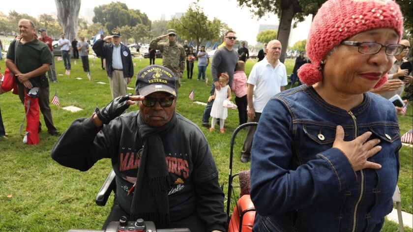 LOS ANGELES, CA - MAY 31, 2018 - Marine Corps veteran Lawrence McCue, 75, and his wife Carla, 62, pa