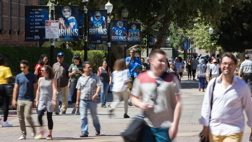 WESTWOOD, CA - SEPTEMBER 15, 2016: Students tour campus with family members before school starts Se