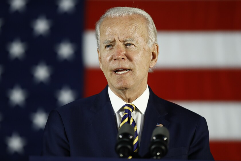 Democratic presidential candidate Joe Biden speaks in Darby, Pa., on Wednesday.