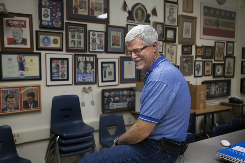 Clairemont High social studies teacher Jim Fletcher started the Museum of the American Presidency, which now has more than 40,000 items representing all 44 presidents. Currently the exhibit is on display in this classroom and at the school library.