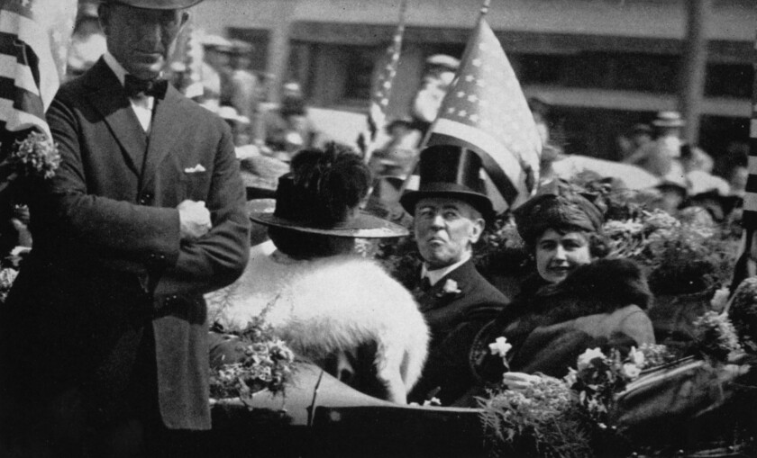 Sep.20, 1919: President Woodrow Wilson and wife Edith Wilson during parade through downtown Los Angeles.