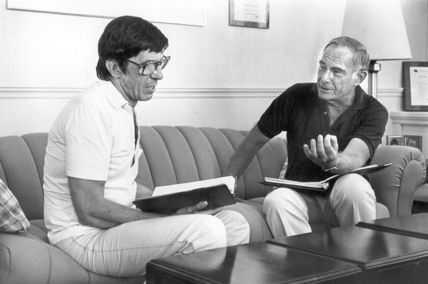 """Star Trek III"" director Leonard Nimoy, left, with producer Harve Bennett in 1983."