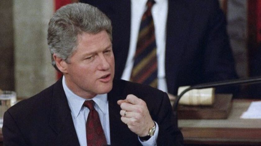 President Clinton speaks before a joint session of Congress in Washington on Feb. 17, 1993, where he laid out his economic plan.