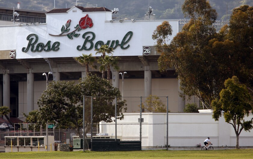 The Rose Bowl as viewed from the path along Seco Street in Pasadena.