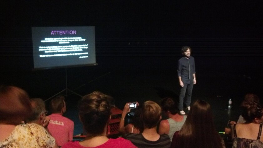 Jon Bennett opens his show before a Fringe audience at the 10th Ave. Theatre on July 5.