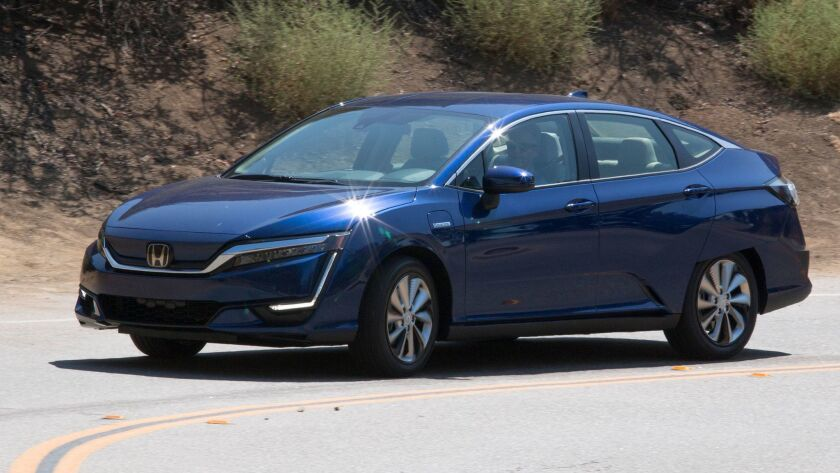 LOS ANGELES, CA - AUGUST 07, 2017: The battery-electric version of the Honda Clarity sedan can seat