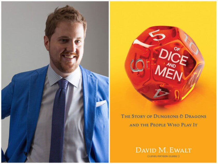 "Author David M. Ewalt and the cover of his book, ""Of Dice and Men."""