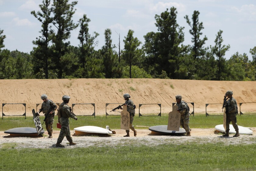 Soldiers on a firing range at Ft. Bragg.