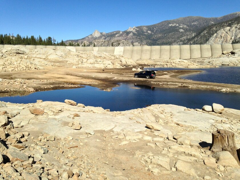The lake bed and the entire face of the dam is visible recently due to extreme drought conditions at Florence Lake in the Sierras near Fresno. Florence Lake, in the John Muir Wilderness Area,  is one of the highest altitude reservoirs in the state system.
