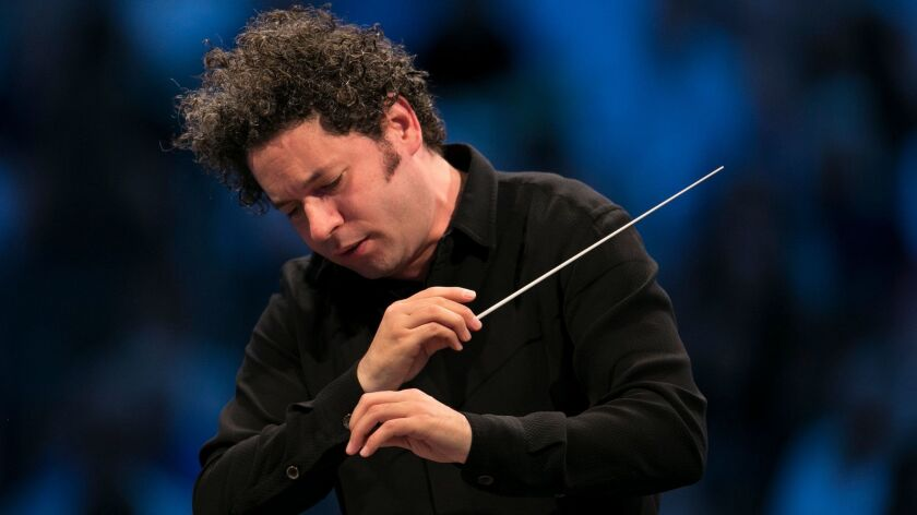 Conductor Gustavo Dudamel, photographed during a Los Angeles Philharmonic concert last month at the Hollywood Bowl.