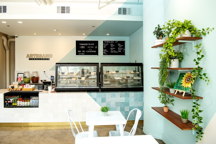 Located in the Fashion District in DTLA, Artesano Tamaleria specializes in an array of tamales, including vegan options.