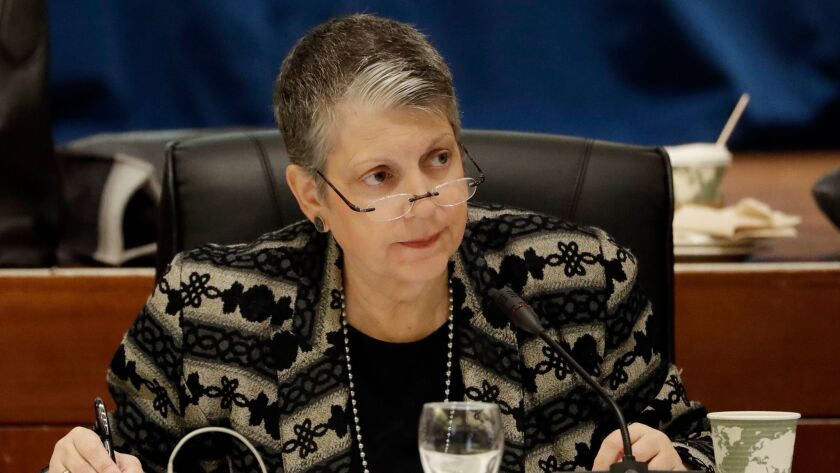 FILE - In this Wednesday, Jan. 25, 2017 file photo, University of California President Janet Napolit
