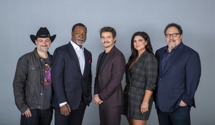 Dave Filoni, Carl Weathers, Pedro Pascal, Gina Carano and Jon Favreau of 'The Mandalorian'