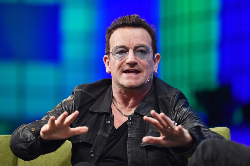 Bono defended Spotify at the 2014 Web Summit in Dublin.