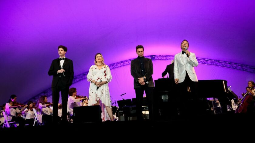 Finn Sagal, left, Ali McGregor, Julian Ovenden and Michael Feinstein share the stage Saturday.