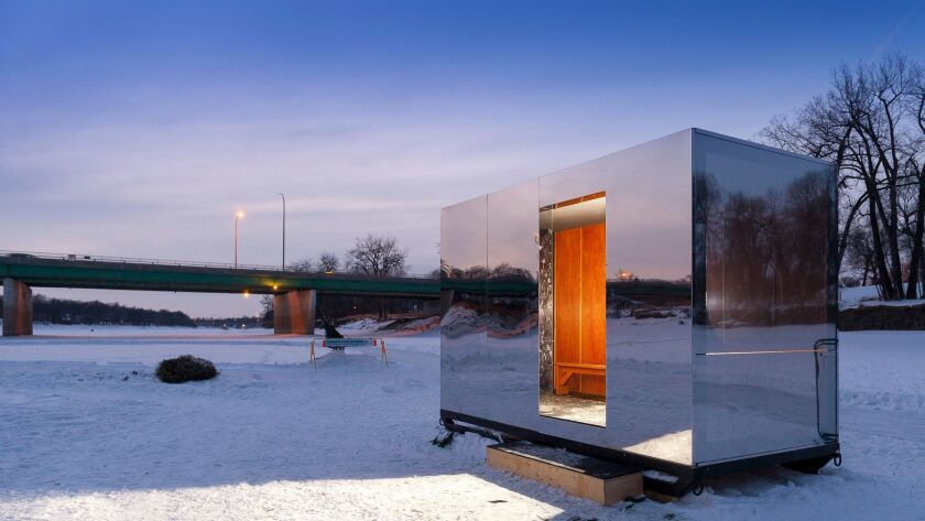 This reflective warming hut was one of several that dotted the rivers of Winnipeg, which, in winter, turn into a skateway.