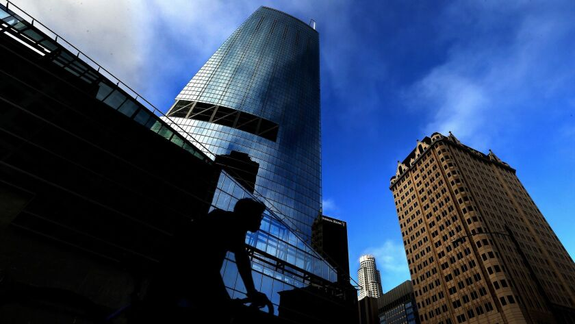The Wilshire Grand Center opened Friday as the tallest building in the city and the highest west of the Mississippi River.