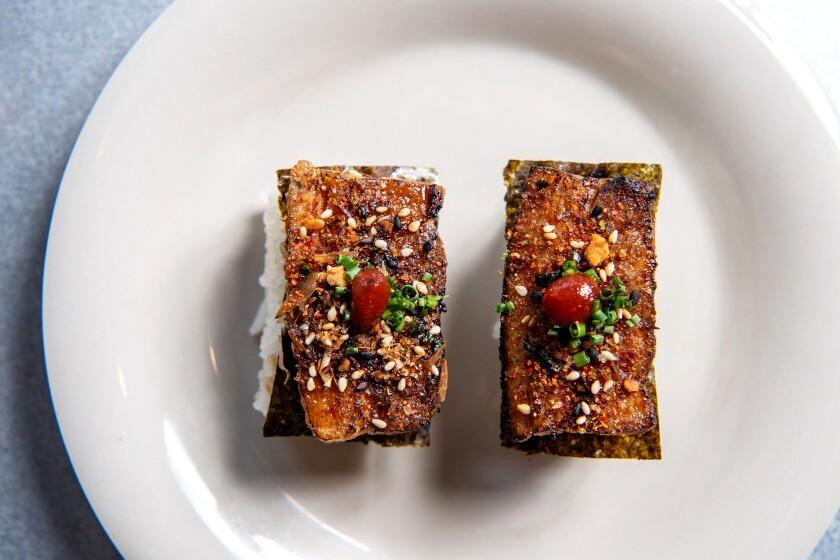 Adobe belly nigiri from Spoon & Pork.