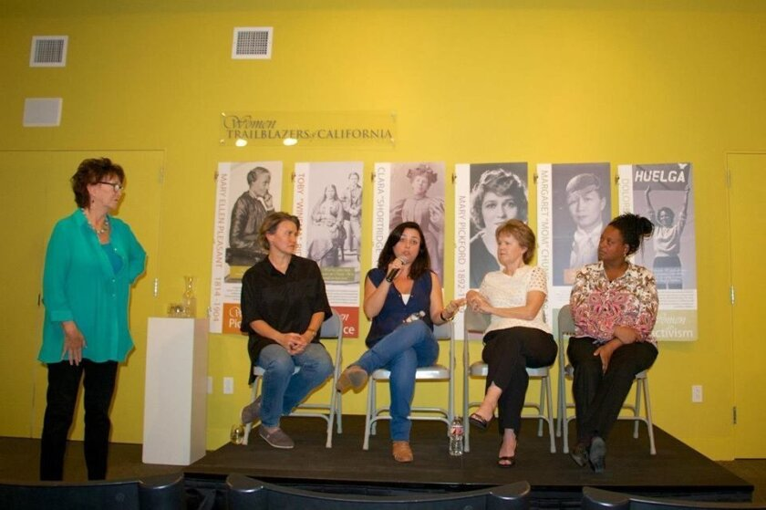 Silvia Luz (second from left) and Sue Vicory (third from left) speaking on a panel at the Women's Museum of California.  Courtesy photo