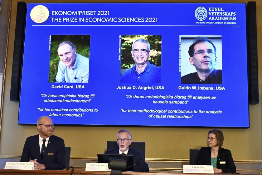 Permanent Secretary of the Royal Swedish Academy of Sciences Goran K Hansson announces the 2021 Nobel prize for economics