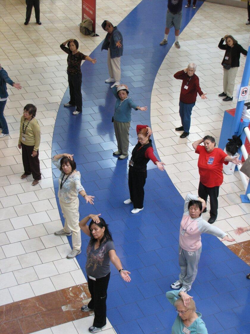 Members of Club Walk take advantage of the free low-impact aerobics class offered at the Plaza Bonita Mall.
