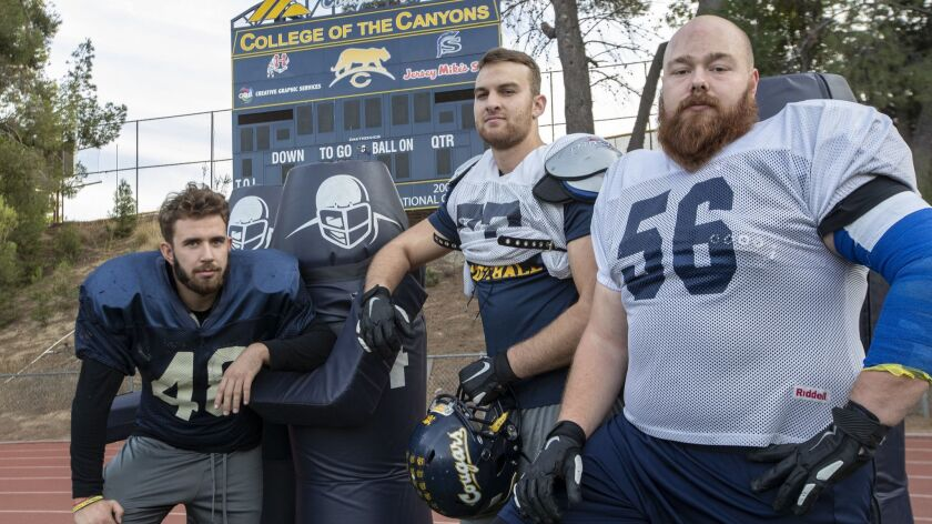 Patryk Guk, left, Kilian Zierer, center, and Philip Weinzierl are all playoff bound with the College of the Canyons football team.