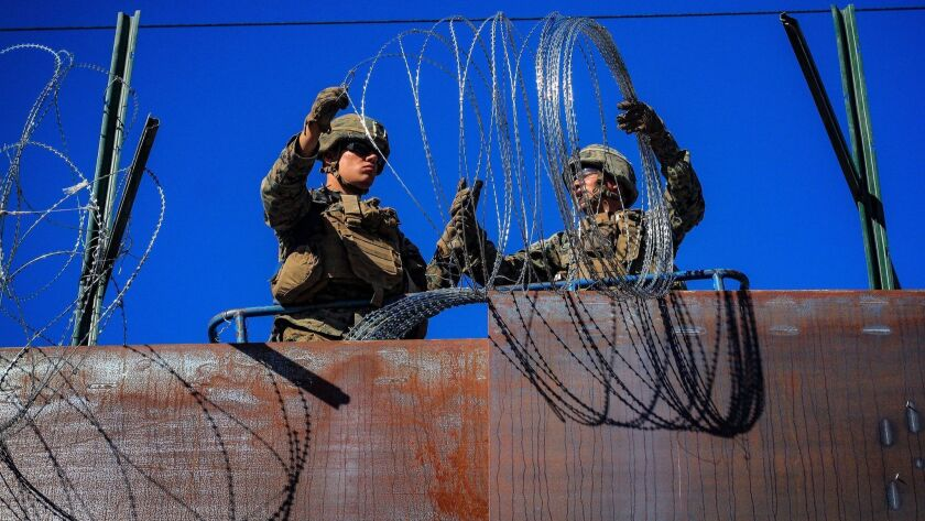 US military install wire fences on the border with Mexico, Tijuana - 12 Nov 2018