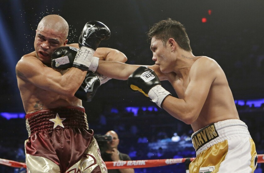 Fighting with fists may have driven the evolution of man's face, a new study suggests. Here, Marvin Sonsona, of the Philippines, punches Wilfredo Vazquez, of Puerto Rico, during the first ninth round of a NABF Featherweight Title boxing match Saturday, June 7, 2014, in New York. Sonsoma won the fight by split decision.