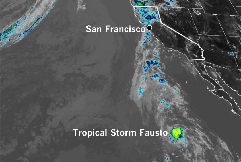A moisture plume from Tropical Storm Fausto streams toward Northern California in a satellite image taken at noon Sunday.
