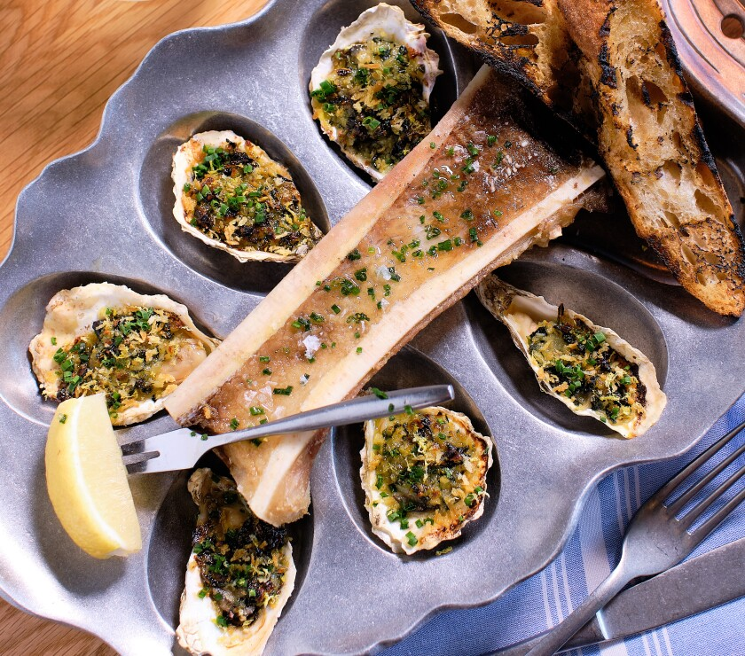 The roasted oysters and bone marrow at Encinitas' new dining hot spot, Herb & Sea.
