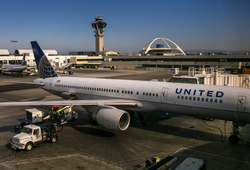 A United Airlines plane at Los Angeles International Airport Terminal 7 on June 27, 2015.