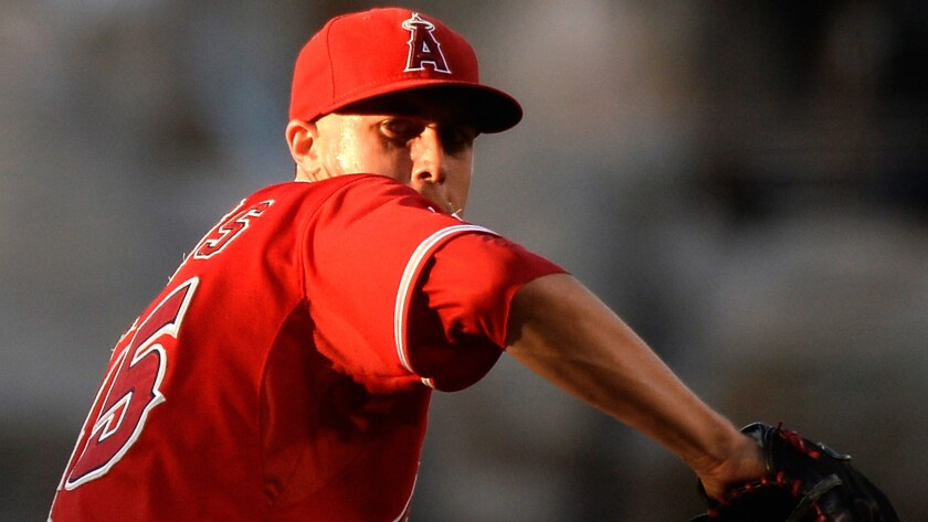 Tyler Skaggs delivers a pitch against the Blue Jays during a game earlier this season.
