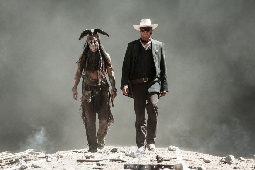 """A scene from """"The Lone Ranger,""""starring Johnny Depp as Tonto and Armie Hammer as the Lone Ranger. A crew member died while preparing an underwater shoot for the film at a ranch in Acton."""