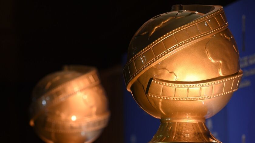 Golden Globe statues are displayed at the 73rd annual Golden Globe Awards nominations at the Beverly