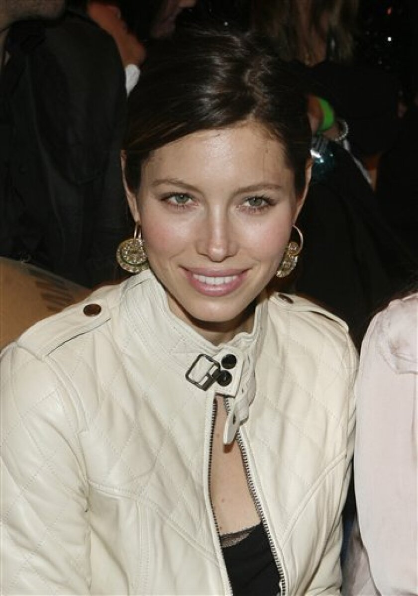 Actress Jessica Biel sits in the front row at the William Rast fall 2010 collection show during Fashion Week, Wednesday, Feb. 17, 2010, in New York.  (AP Photo/Jason DeCrow)