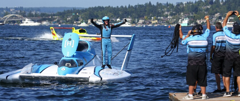 Jimmy Shane celebrates his win last month in Seattle. Shane is expected to cap the season Sunday on Mission Bay with his seventh driver's title in the last eight years.