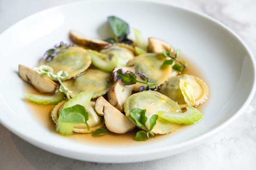 Wild Burgundy escargot ravioli at Knife & Pleat