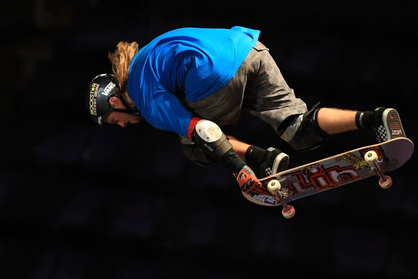 Rob Lorifice participates in the Skateboard Big Air event during the 14th Summer X Games on July 31, 2008 at the Staples Center in Los Angeles, California.