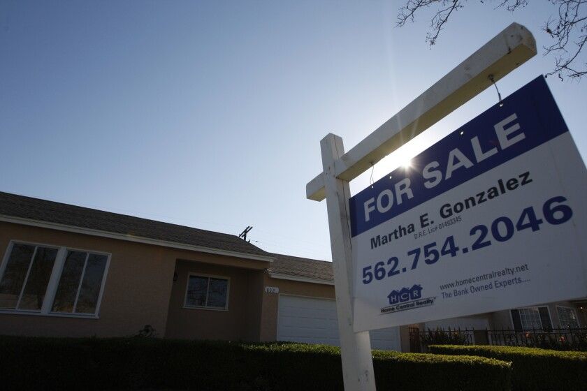 Foreclosure rates are back down to pre-mortgage-crisis levels, though there are some signs that banks are pushing to complete more repossessions. Above, a repossessed home on the market last year in Compton.