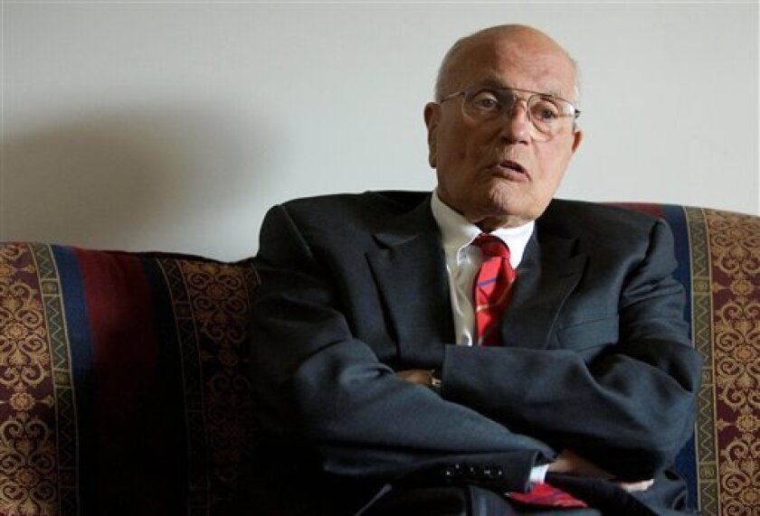 Rep. John Dingell, D-Mich., speaks to The Associated Press during an interview on Capitol in Washington, Wednesday, Feb. 4, 2009. (AP Photo/Manuel Balce Ceneta)