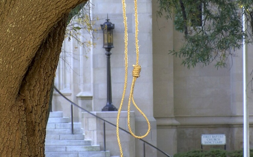 In this photo provided by WLBT-TV, a noose hangs on a tree on the state capitol grounds in Jackson, Miss. on Monday, Nov. 26, 2018.