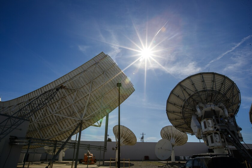A view of DirecTV satellite dishes at AT&T Los Angeles Broadcast Center in Culver City in 2020.
