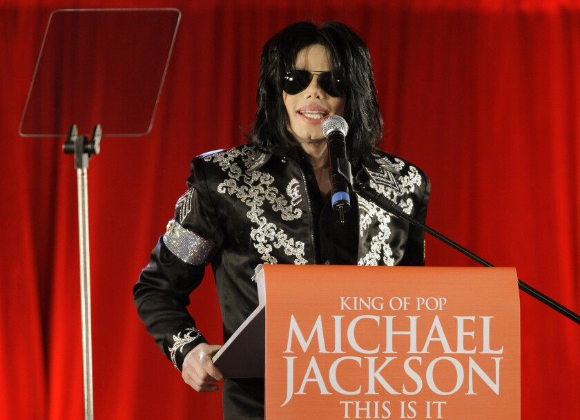 Michael Jackson, in 2009, announces that he is set to play 10 live concerts at the London O2 Arena.