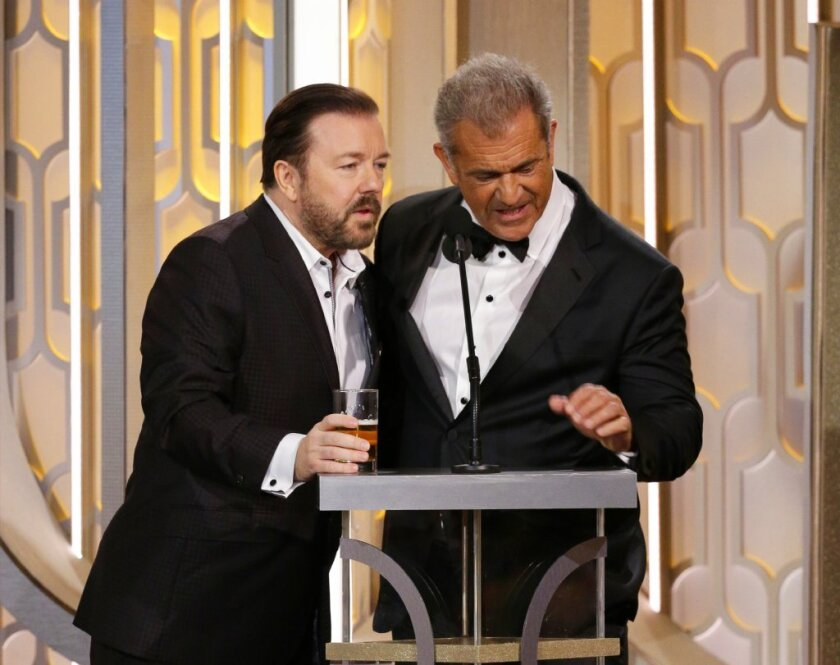 Ricky Gervais brought Mel Gibson onstage when he last hosted the Globes in 2016.