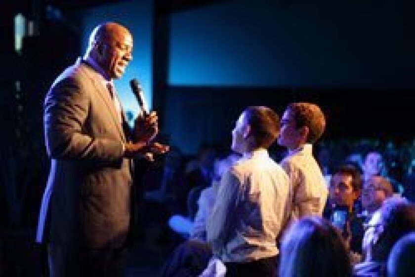 Magic Johnson speaks at the Jewish Federation Men's Event at the Del Mar Fairgrounds. Photo/Angela Solange
