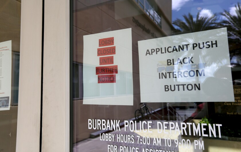 The Burbank Police Department is limiting who can access its lobby at its 200 N. Third St. headquarters in order to slow the spread of the novel coronavirus.