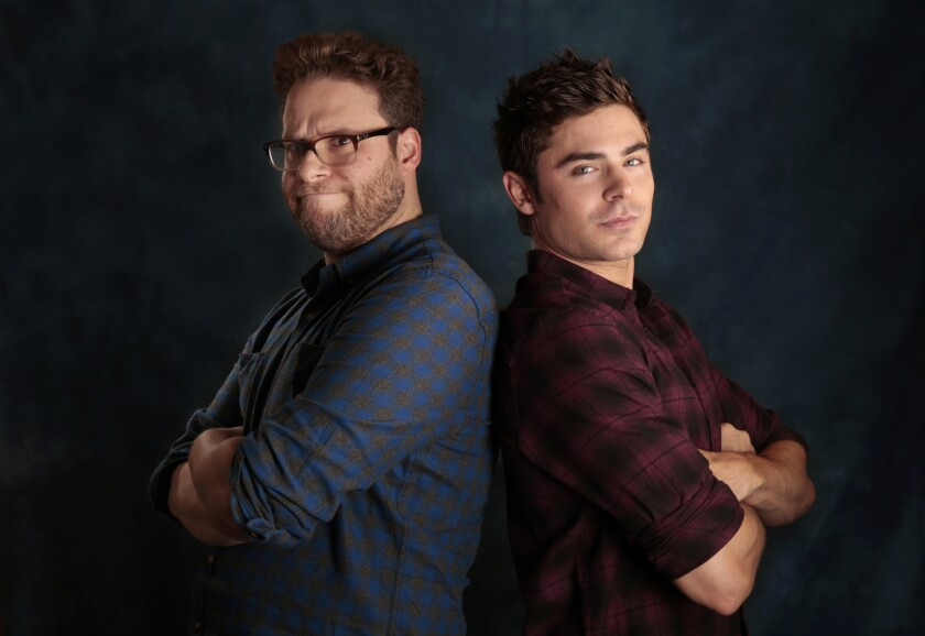 "Seth Rogen, left and Zac Efron, star in the new movie ""Neighbors."""