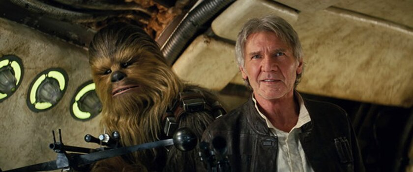 Han Solo (Harrison Ford) with Chewbacca (Peter Mayhew)