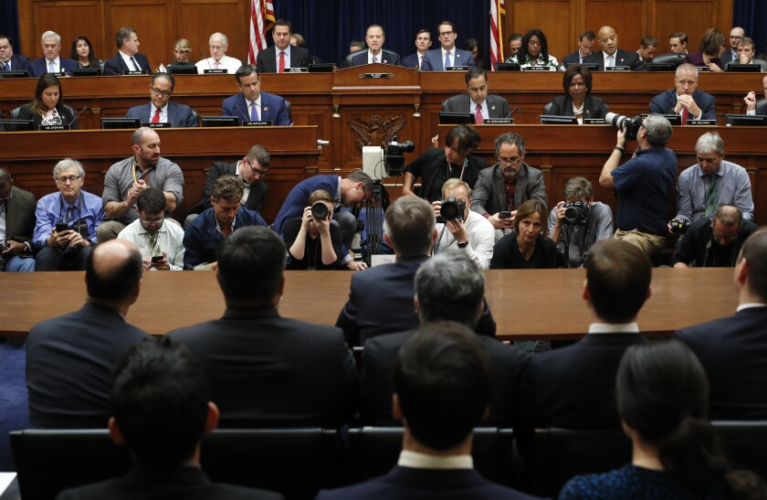 Rep. Adam Schiff (D-Burbank)., center, makes an opening statement Thursday before testimony by Acting Director of National Intelligence Joseph Maguire.